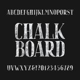 Chalk board alphabet font. Hand drawn type letters and numbers on a dark background. Stock vector typeface for your headers or any typography design Stock Illustration