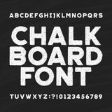 Chalk board alphabet font. Messy type letters and numbers on a dark background. Stock vector typeface for your headers or any typography design Vector Illustration