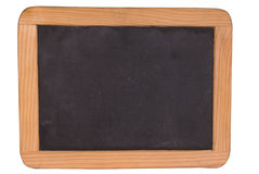 Chalk board black. Blank black Chalk board with wood frame isolated over white with a clipping path Royalty Free Stock Photography