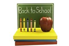 Chalk board and books Stock Photo
