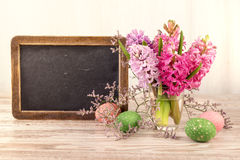 Chalk board and bunch of hyacinth blooms, text space Stock Images