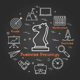 Chalk board - Business Strategy. Vector linear round concept of Business Strategy. Thin line icons of chess knight, business planning and succesful technologies Royalty Free Stock Image