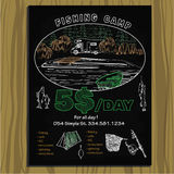Chalk board camp invitation for fishing. Vector illustration of chalk board camp invitation for fishing.Template design for hand - drawn Stock Photography