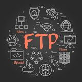 Chalk board concept - File Transfer Protocol. Vector linear round concept of File Transfer Protocol. Thin line icons of internet technologies and data Royalty Free Stock Photos