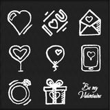 Chalk board doodle set of hearts. Design elements for Valentine's Day, wedding invitation, etc. Vector illustration Royalty Free Stock Photos