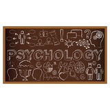 Chalk board doodle with symbols on psychology Royalty Free Stock Photography