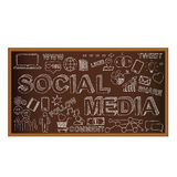 Chalk board doodle with symbols, social media Stock Photos