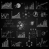 Chalk board doodle web charts Stock Images