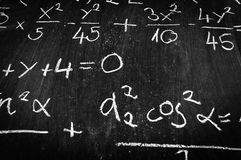 Chalk board and formulas Royalty Free Stock Photography