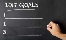 Chalk board with 2017 goals Stock Photo