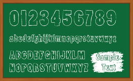 Chalk board hand drawn alphabet. Chalk green board hand drawn alphabet Royalty Free Illustration