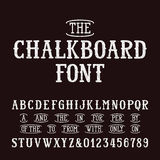 Chalk board hand drawn font and catchwords. Vector alphabet - type letters and numbers Stock Illustration