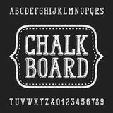 Chalk board hand drawn font. Vector alphabet - type letters and numbers Vector Illustration