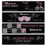 Chalk board invitation for birthday in the camping. Vector illustartion of chalk board invitation for Valentines day. Template for Valentine day Stock Images
