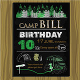 Chalk board invitation for birthday in the camping. Vector illustration of chalk board invitation for birthday in the camping Stock Images