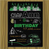 Chalk board invitation for birthday in the camping. Vector illustration of chalk board invitation for birthday in the camping Royalty Free Stock Photography
