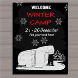 Chalk board invitation in the Camping Lettering poster. Welcome. Time to travel. Royalty Free Stock Images