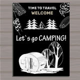 Chalk board invitation in the Camping Lettering poster. Welcome. Time to travel. Stock Photography