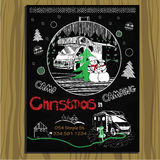 Chalk board invitation for Christmas holiday. Vector illustration of chalk board invitation for Christmas holiday in the camping.Template design for hand Royalty Free Stock Photos