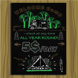 Chalk board invitation for holiday in the camping Stock Images