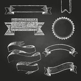 Chalk board labels, ribbons and stickers Royalty Free Stock Photo