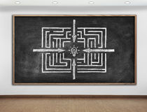 Chalk board with maze Stock Photography