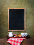Chalk board menu and breakfast Royalty Free Stock Photo