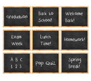 Chalk Board Message. 9 Chalk boards for school with different messages Royalty Free Illustration