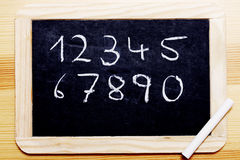 Chalk Board with numbers. Black board with wooden frame. Numbers 1 to 0 written in chalk Stock Photography