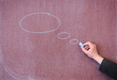 Chalk board with painted ovals. Stock Images