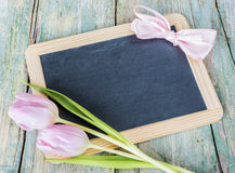Chalk board and pink tulips Stock Image