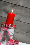 Chalk board with a red candle for christmas Stock Photo