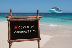 Free Chalk Board Related To Covid 19, Coronavirus. Cruise Travel Concept. Royalty Free Stock Images - 181525849