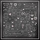 Chalk board romantic set in vector Royalty Free Stock Photo