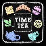 Chalk board. Set Time tea Stock Photography