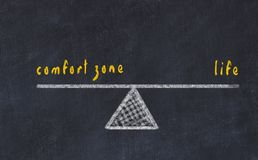 Chalk board sketch illustration. Concept of balance between comfort zone and life.  stock illustration