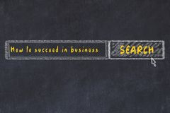 Chalk board sketch of internet search engine. Looking for how to succeed in business.  royalty free illustration