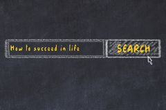 Chalk board sketch of internet search engine. Looking for how to succeed in life.  royalty free illustration