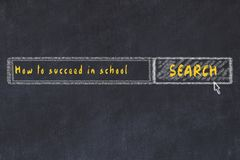 Chalk board sketch of internet search engine. Looking for how to succeed in school.  stock illustration