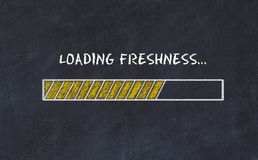 Chalk board sketch with progress bar and inscription loading freshness.  royalty free illustration