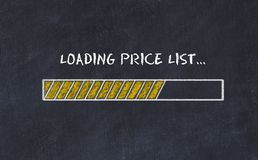 Chalk board sketch with progress bar and inscription loading price list.  royalty free illustration
