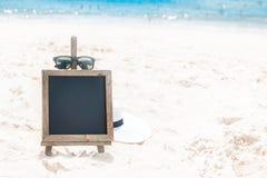 Chalk board sunglasses sand beach tropic exotic Stock Photography