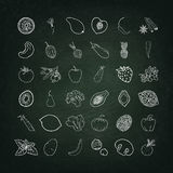 Chalk. Board,  texture. Fruit and vegetables doodle set. Set of elements 36. The image can be used for your business, shop, cafe, restaurant Royalty Free Stock Photography