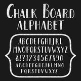 Chalk board typeface. Hand drawn alphabet. Vector font with small caps for labels, headlines, posters etc Stock Illustration