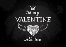 Chalk board  with Valentines type design Royalty Free Stock Photo