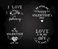 Chalk board  with Valentines type designs Stock Images
