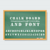 Chalk board. Vector Chalk Board and chalk font Royalty Free Illustration