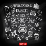 Chalk board Welcome back to school Stock Photos