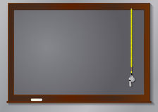Chalk board and whistle Stock Photography
