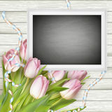 Chalk board on wooden background. EPS 10 Stock Images